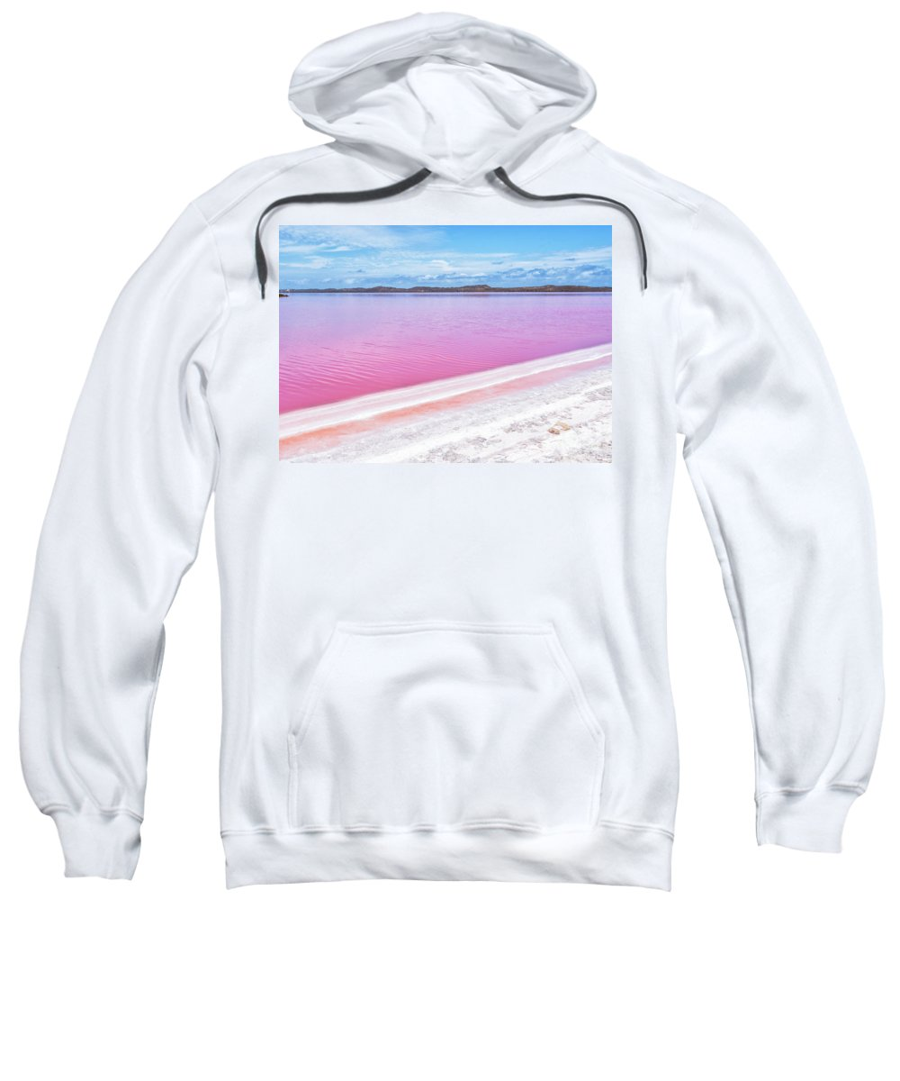 Pink Lake Sweatshirt featuring the photograph The Pink Diagonal by Genevieve Vallee