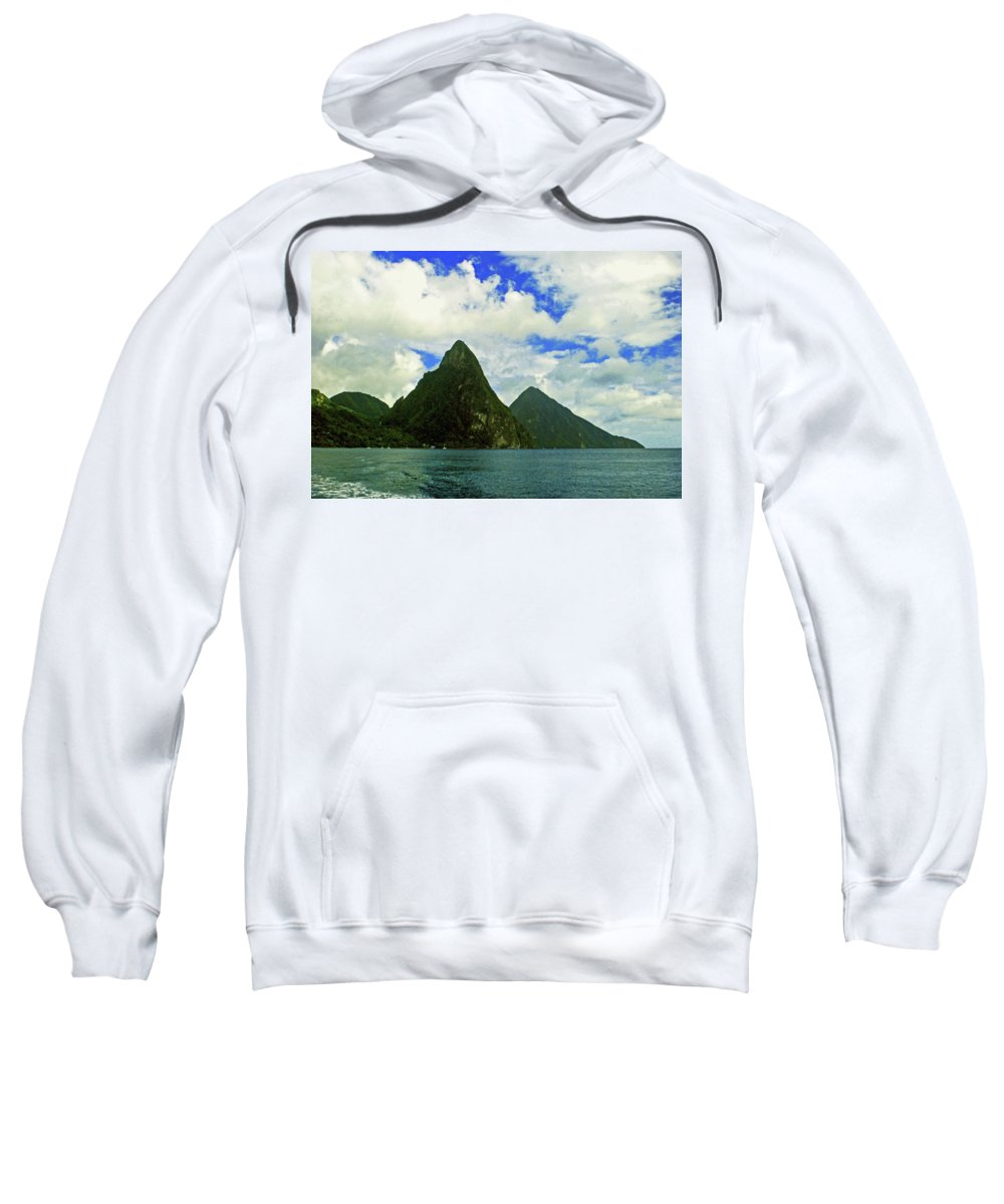 Caribberan Islands Sweatshirt featuring the photograph The Pitons by Gary Wonning