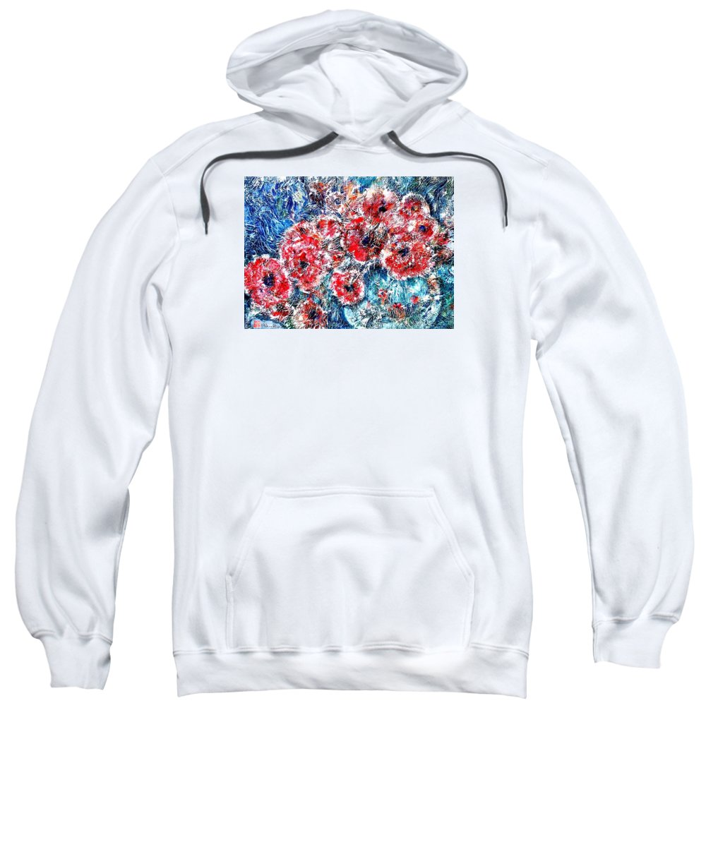 Poppies Sweatshirt featuring the painting The Poppies by Norma Boeckler