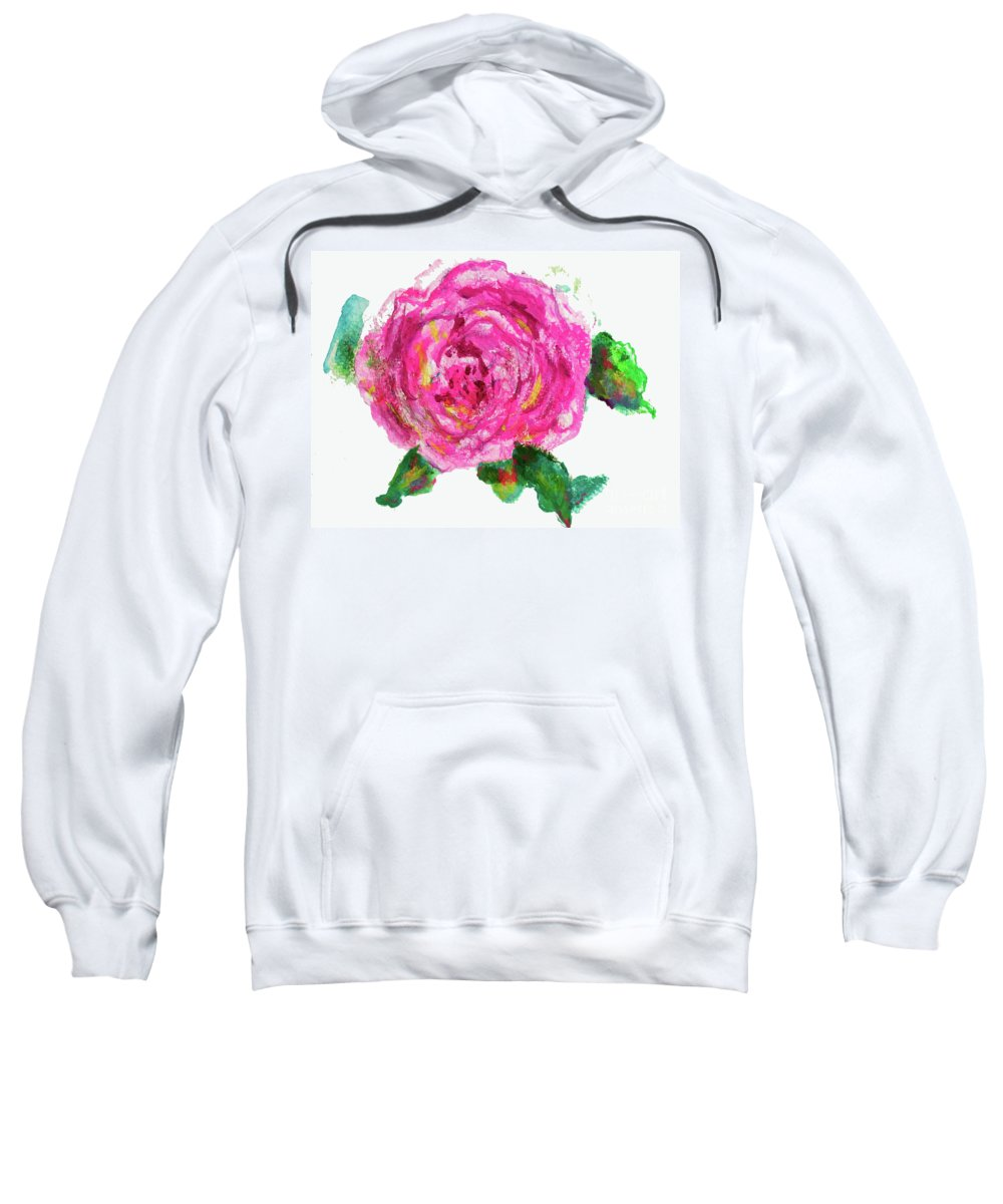 Rose Sweatshirt featuring the painting The Rose by Beth Saffer