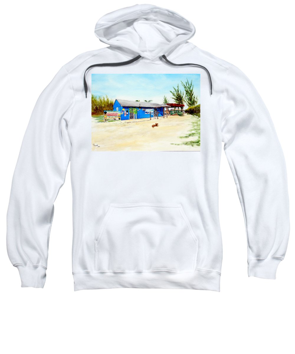 My Favorite Beach Bar!!!! They Have The Best Pina Colada Sweatshirt featuring the painting The Sand Bar - Margaritaville, Freeport, Bahamas by Martine Wardill