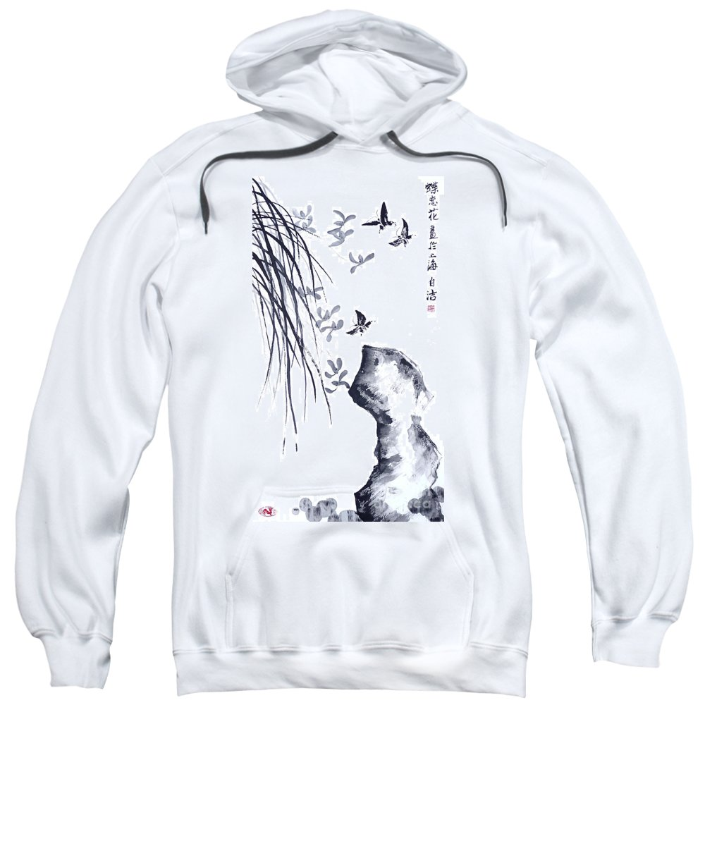White Sweatshirt featuring the painting The Scent Of Spring by Birgit Moldenhauer