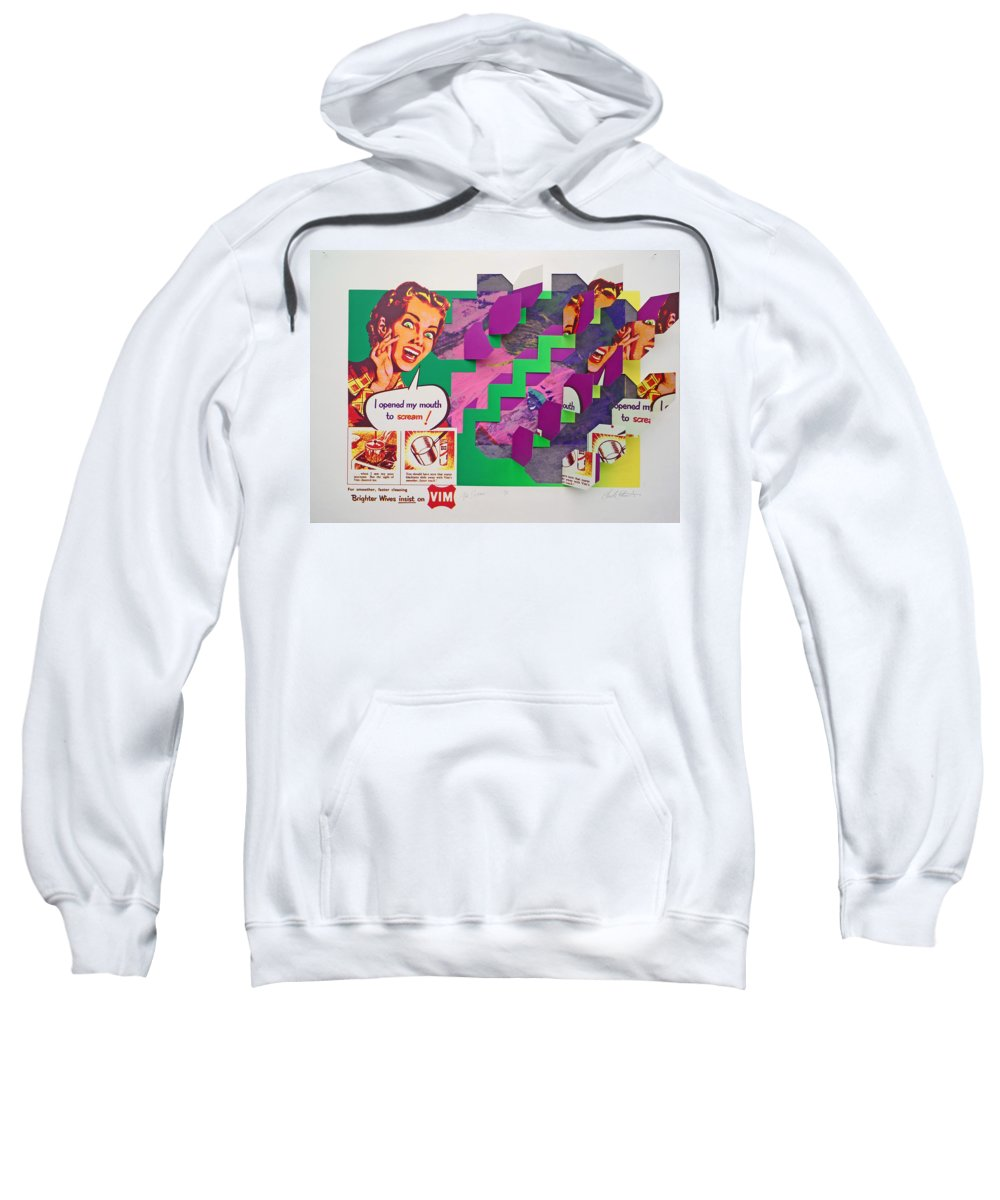 Psycho Sweatshirt featuring the mixed media The Scream 3 by Charles Stuart