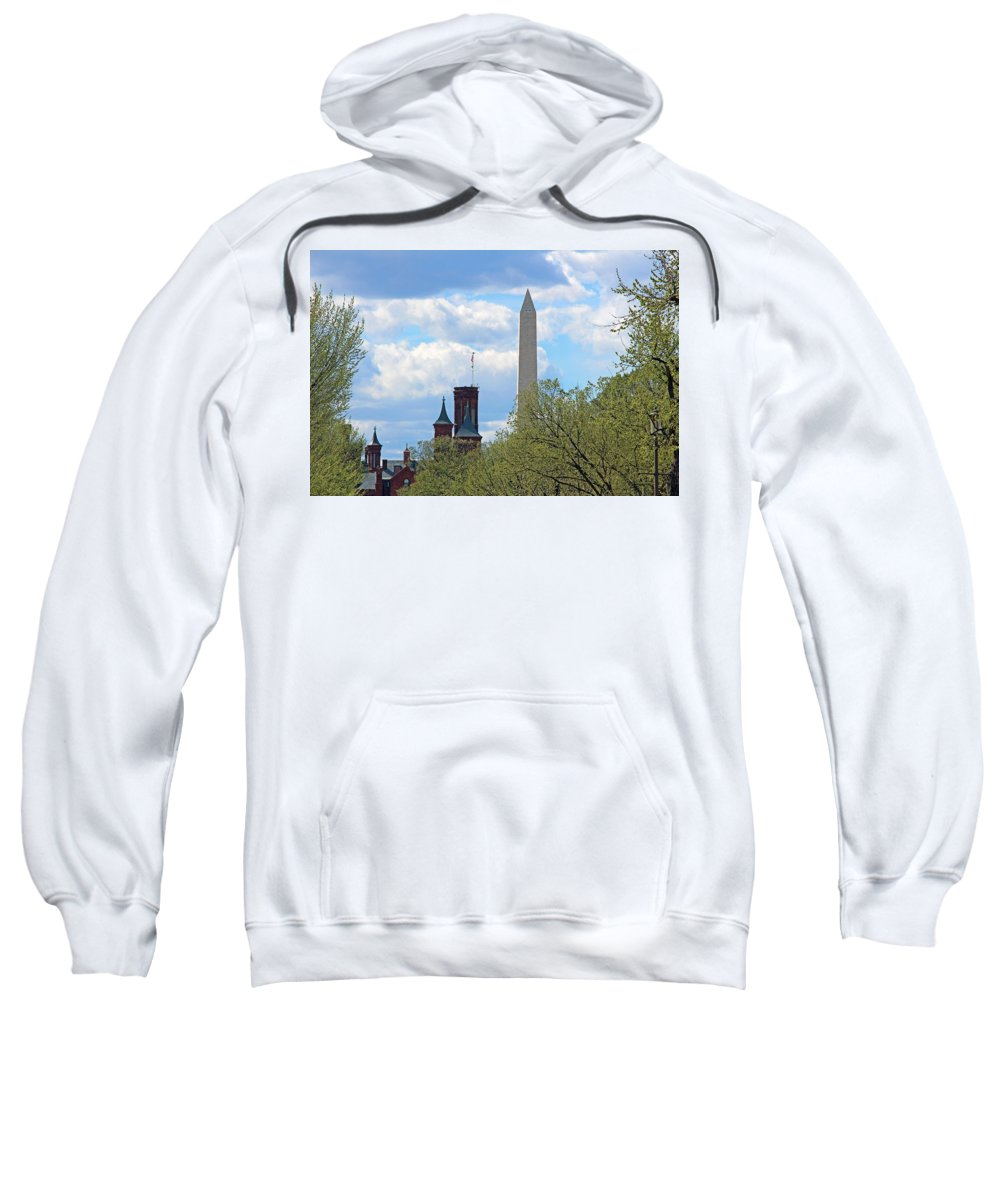 Washington Sweatshirt featuring the photograph The Smithsonian Castle And Washington Monument In Green by Cora Wandel