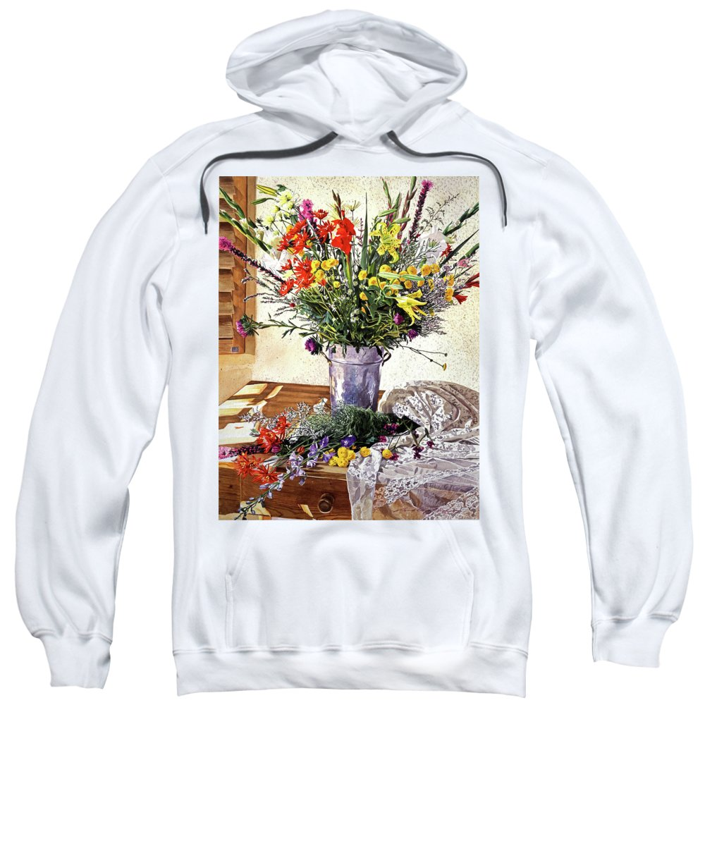 Still Life Sweatshirt featuring the painting The Summer Room by David Lloyd Glover