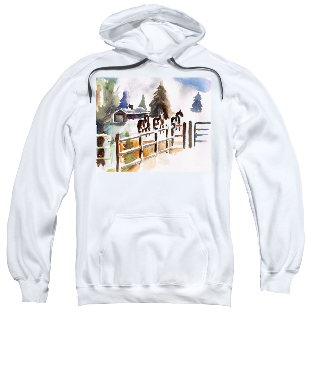 Horses Sweatshirt featuring the painting The Three Amigos by Frances Marino