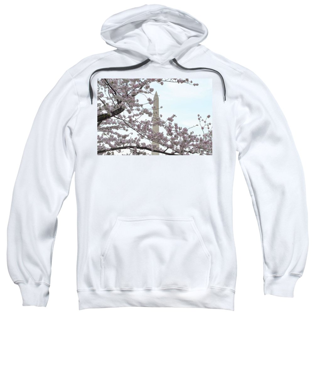 Cherry Blossom Sweatshirt featuring the photograph The Washington Monument At The Cherry Blossom Festival by Rick Grossman
