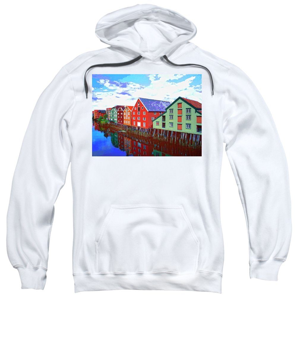 Waterfront Sweatshirt featuring the mixed media The Waterfront by Dominic Piperata
