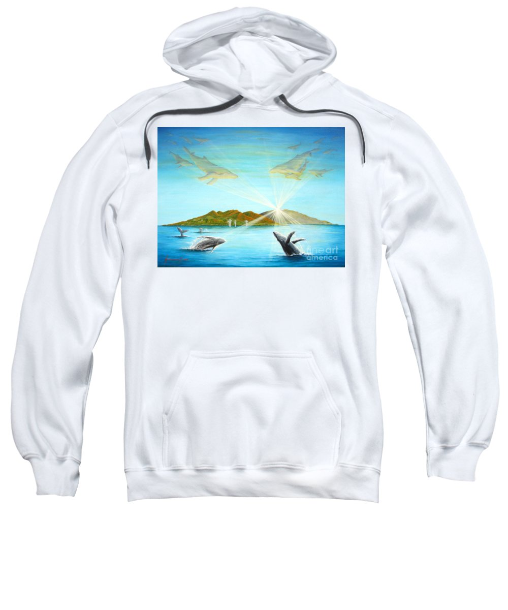 Whales Sweatshirt featuring the painting The Whales Of Maui by Jerome Stumphauzer