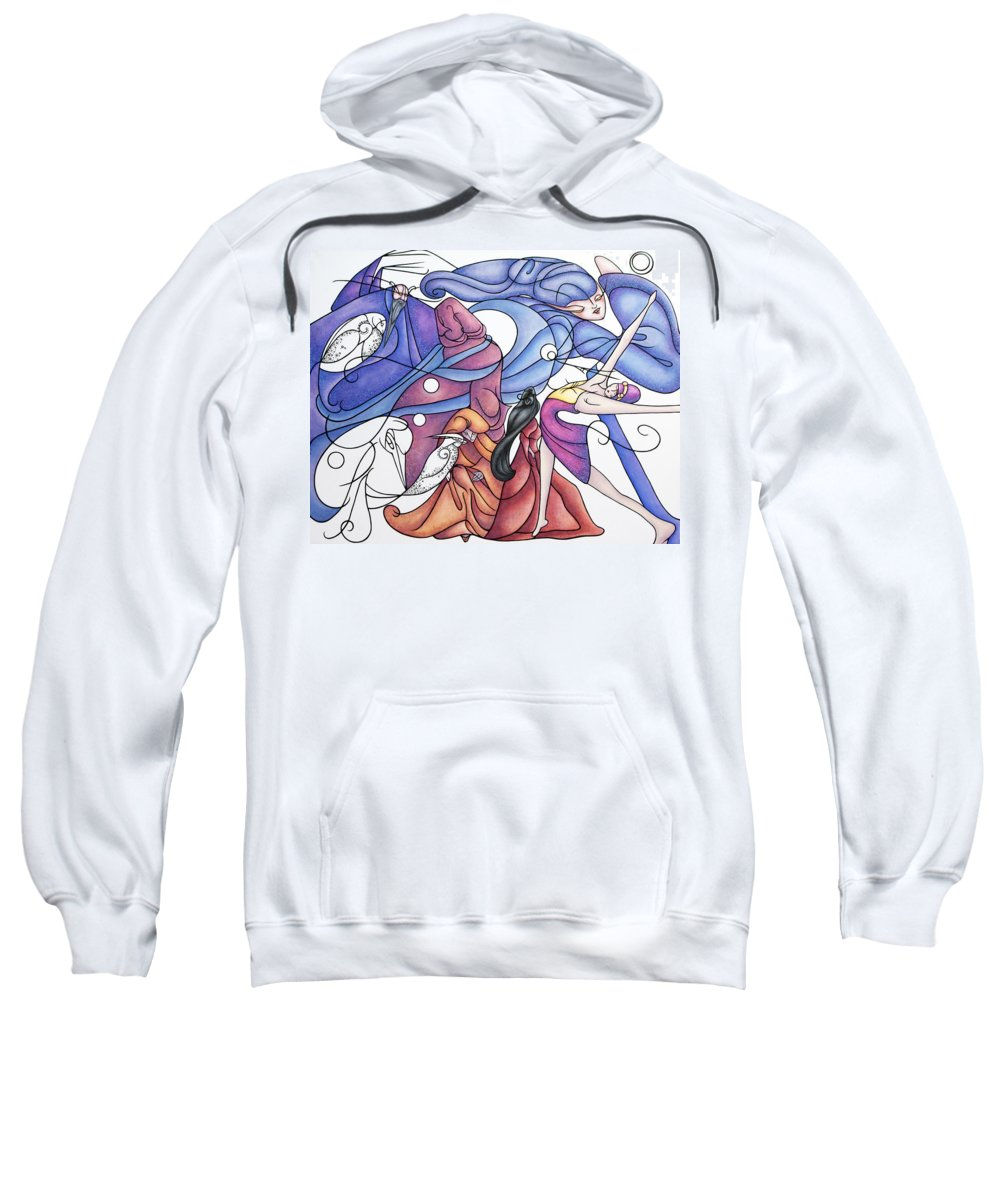 Wizard Sweatshirt featuring the painting The Wizards Daughter by Judy Henninger