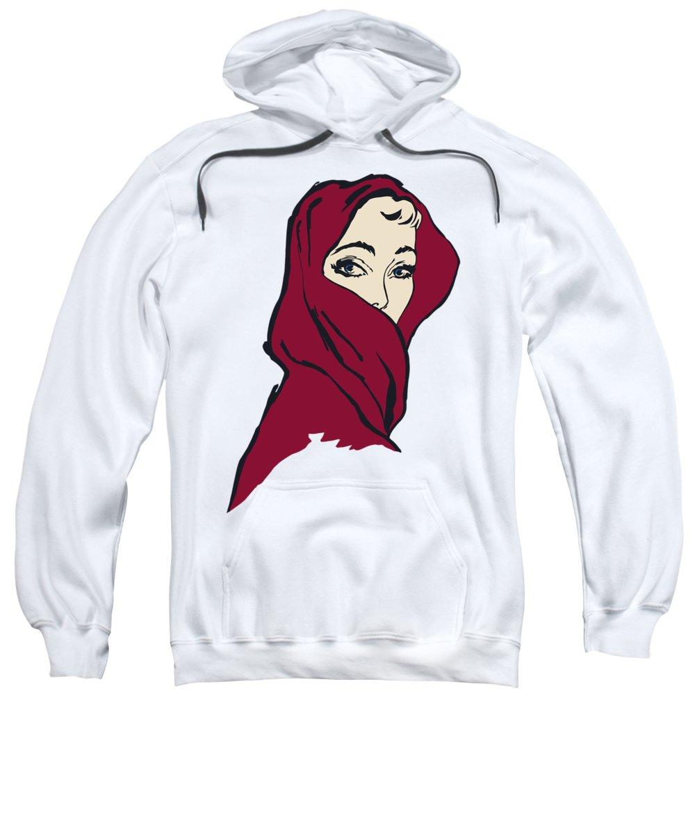 Woman Sweatshirt featuring the digital art The Woman With The Crimson Veil by Heidi De Leeuw