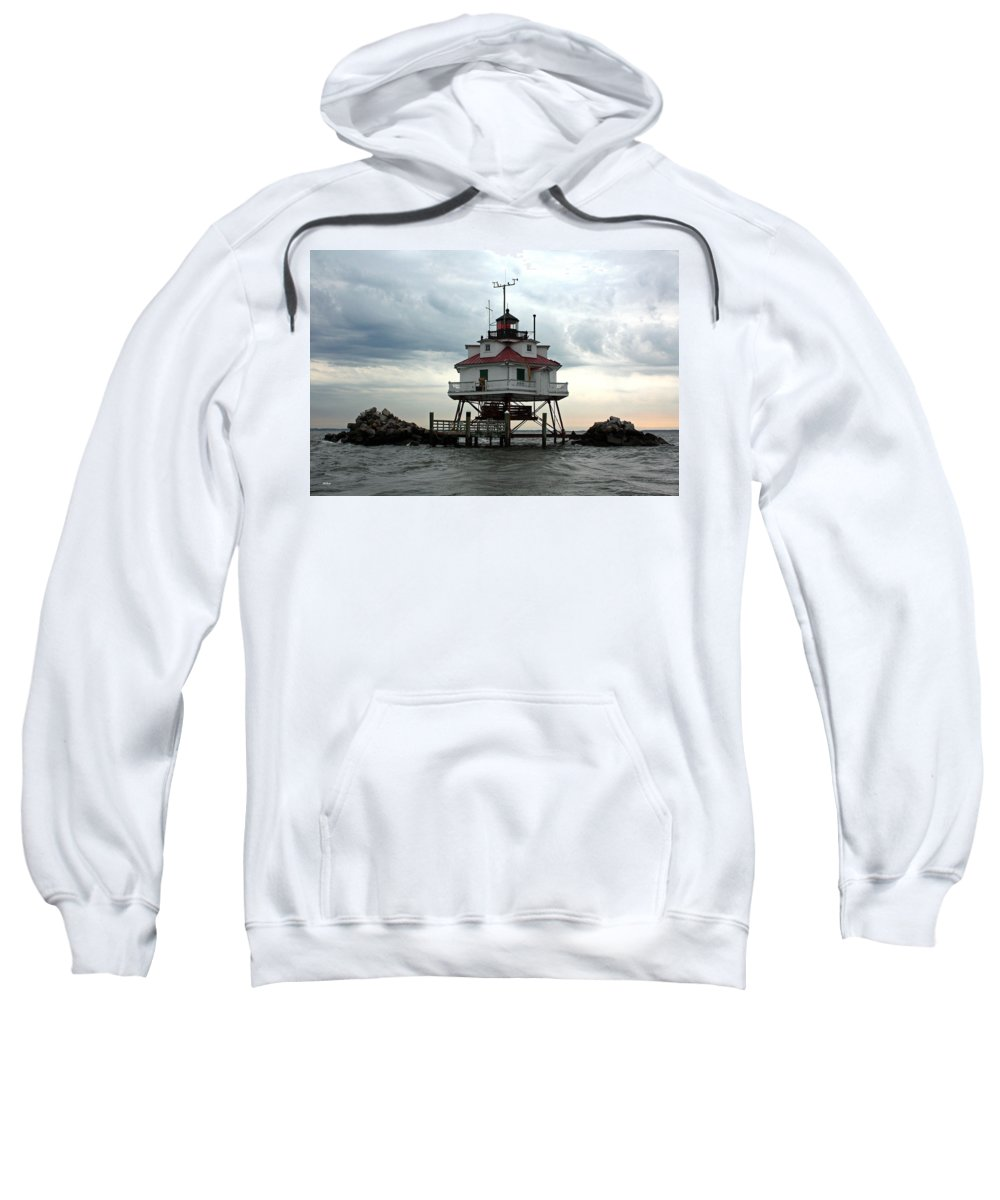 Thomas Sweatshirt featuring the photograph Thomas Point Shoal Lighthouse - Up Close by Ronald Reid
