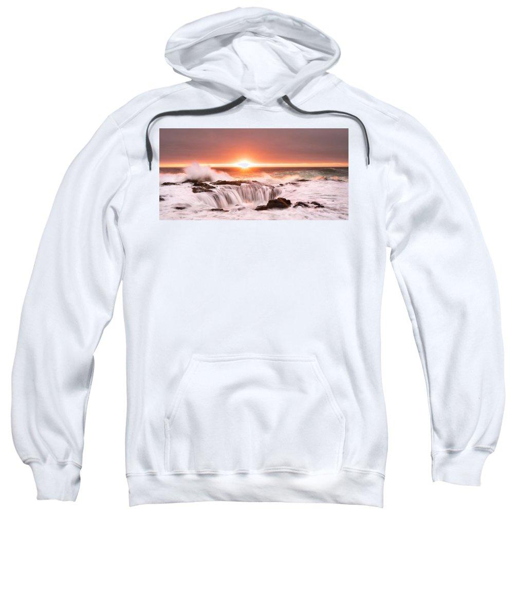 Ocean Sweatshirt featuring the photograph Thor's Well by Kurt Schmidt
