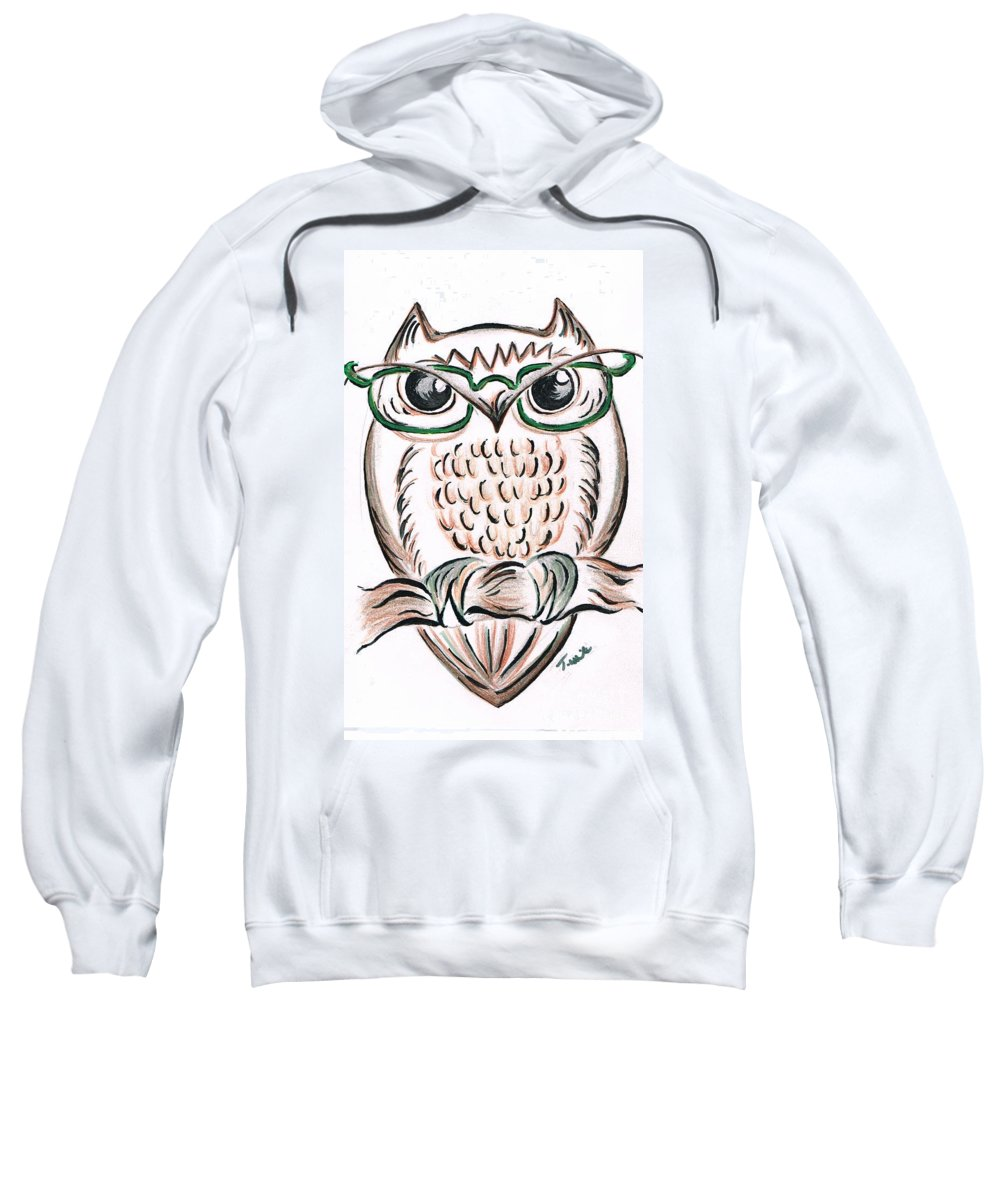 Teresa White Sweatshirt featuring the drawing Owl- Those Spectacles by Teresa White