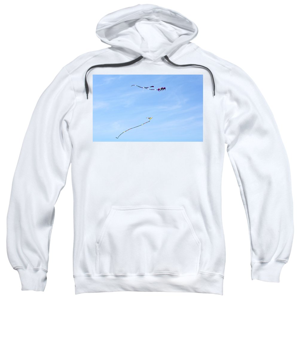 Coupeville Sweatshirt featuring the photograph Three Kites by Linda Kerkau