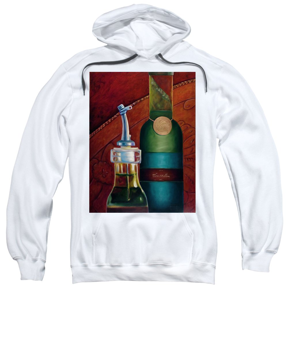 Olive Oil Sweatshirt featuring the painting Three Million Net by Shannon Grissom