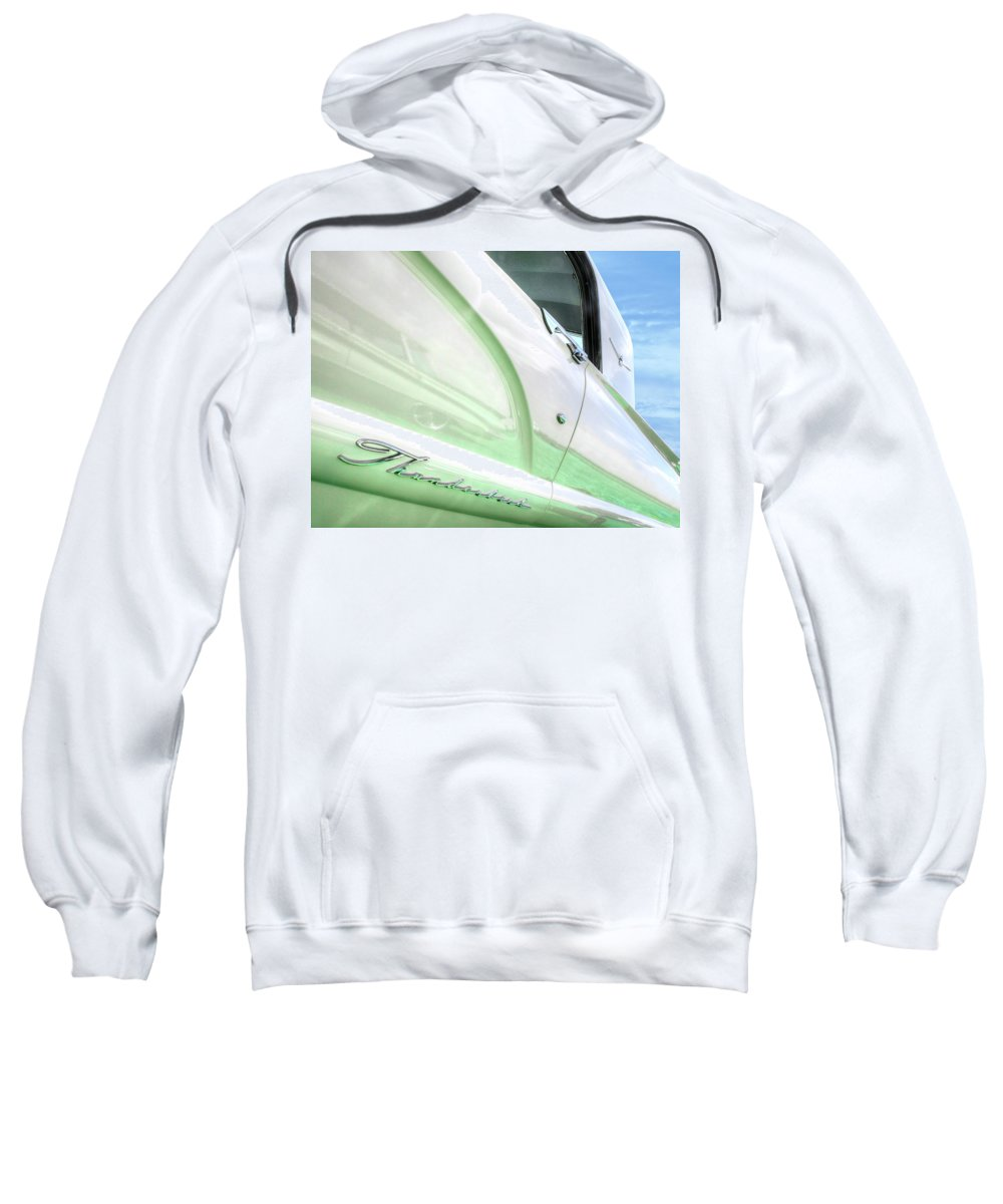 Ford Thunderbird Sweatshirt featuring the photograph Thunderbird Abstract In Mint And White by Gill Billington