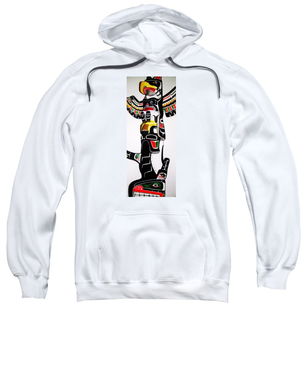 Totem Sweatshirt featuring the painting Thunderbird And Whale Totem by Lucy Deane