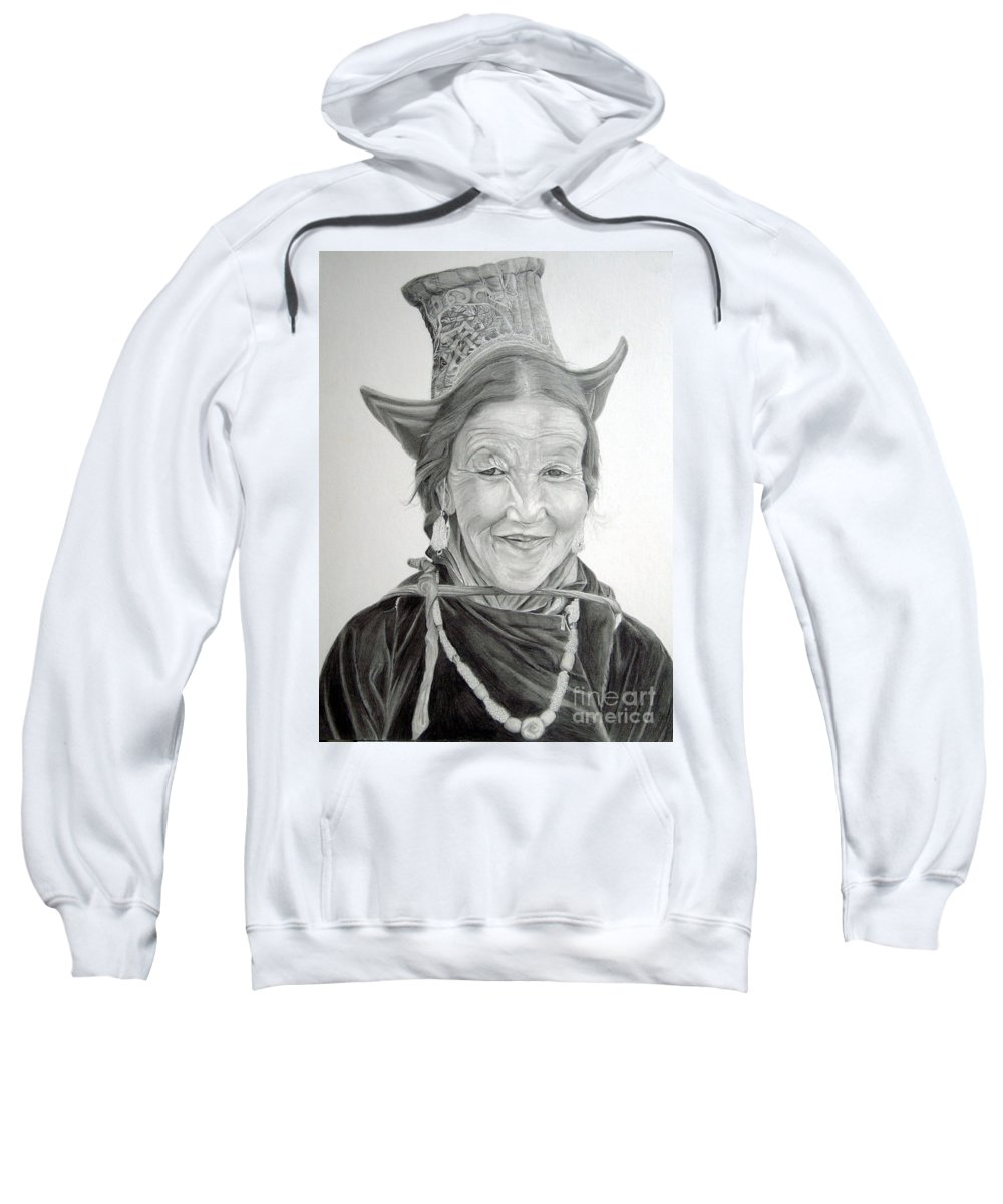 Figurative Art Sweatshirt featuring the drawing Tibetan Delight by Portraits By NC