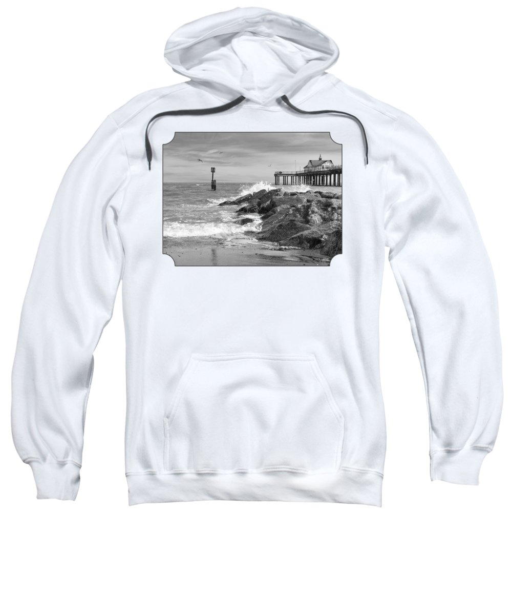 Black And White Landscape Sweatshirt featuring the photograph Tide's Turning - Black And White - Southwold Pier by Gill Billington