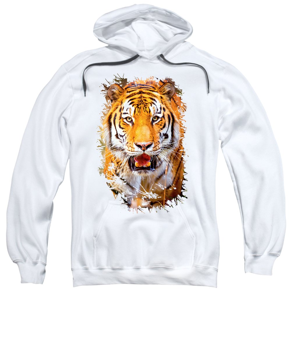 Tiger Sweatshirt featuring the photograph Tiger On The Hunt by David Millenheft