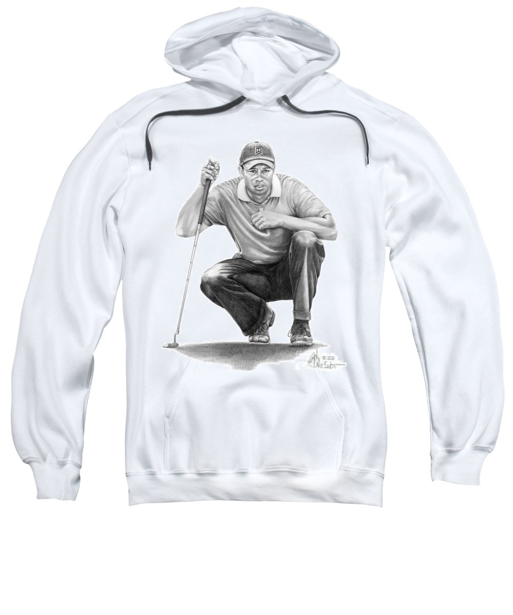 Pencil Sweatshirt featuring the drawing Tiger Woods Crouching Tiger by Murphy Elliott