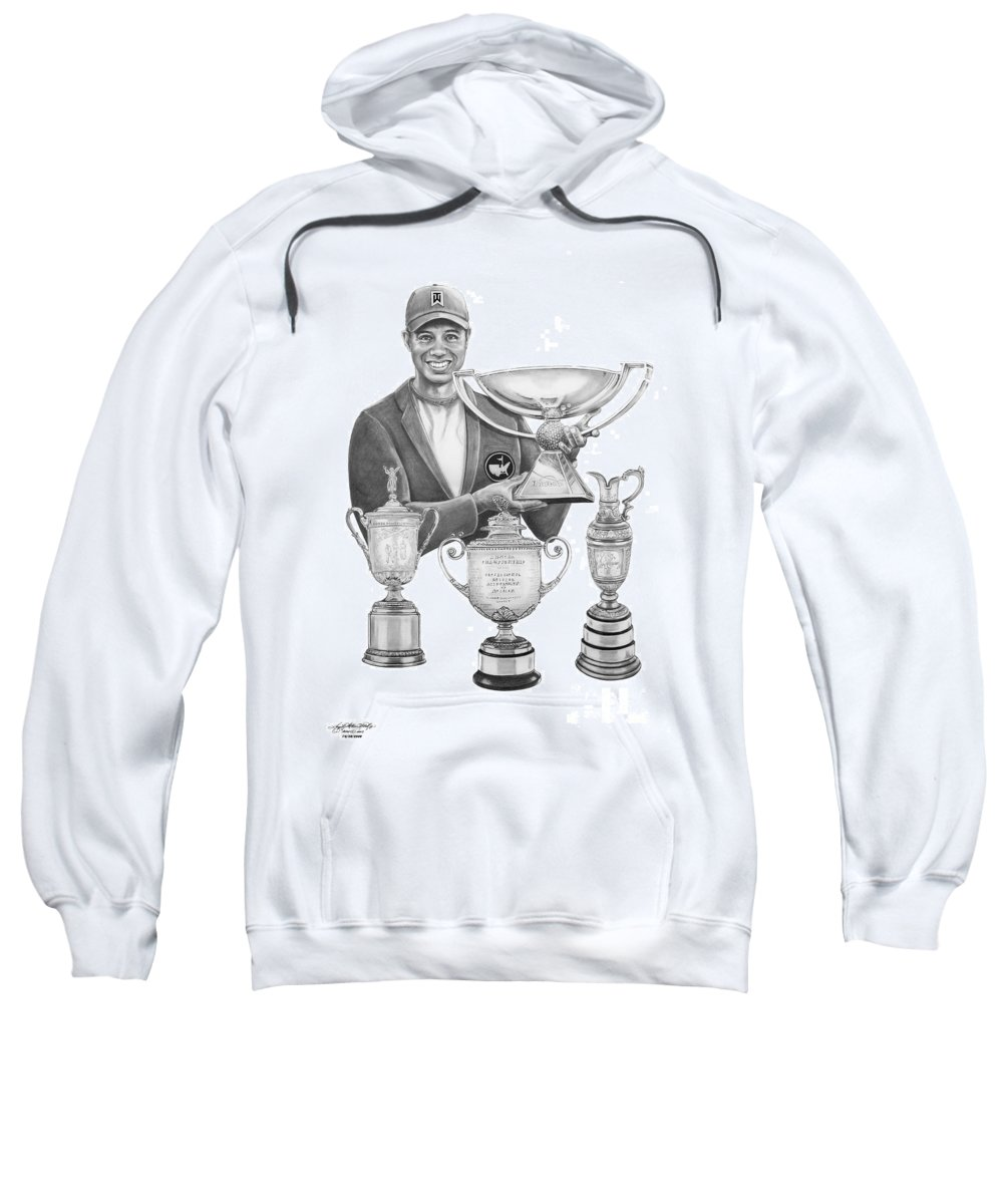 Tiger Woods Sweatshirt featuring the drawing Tiger Woods-decades Best by Murphy Elliott