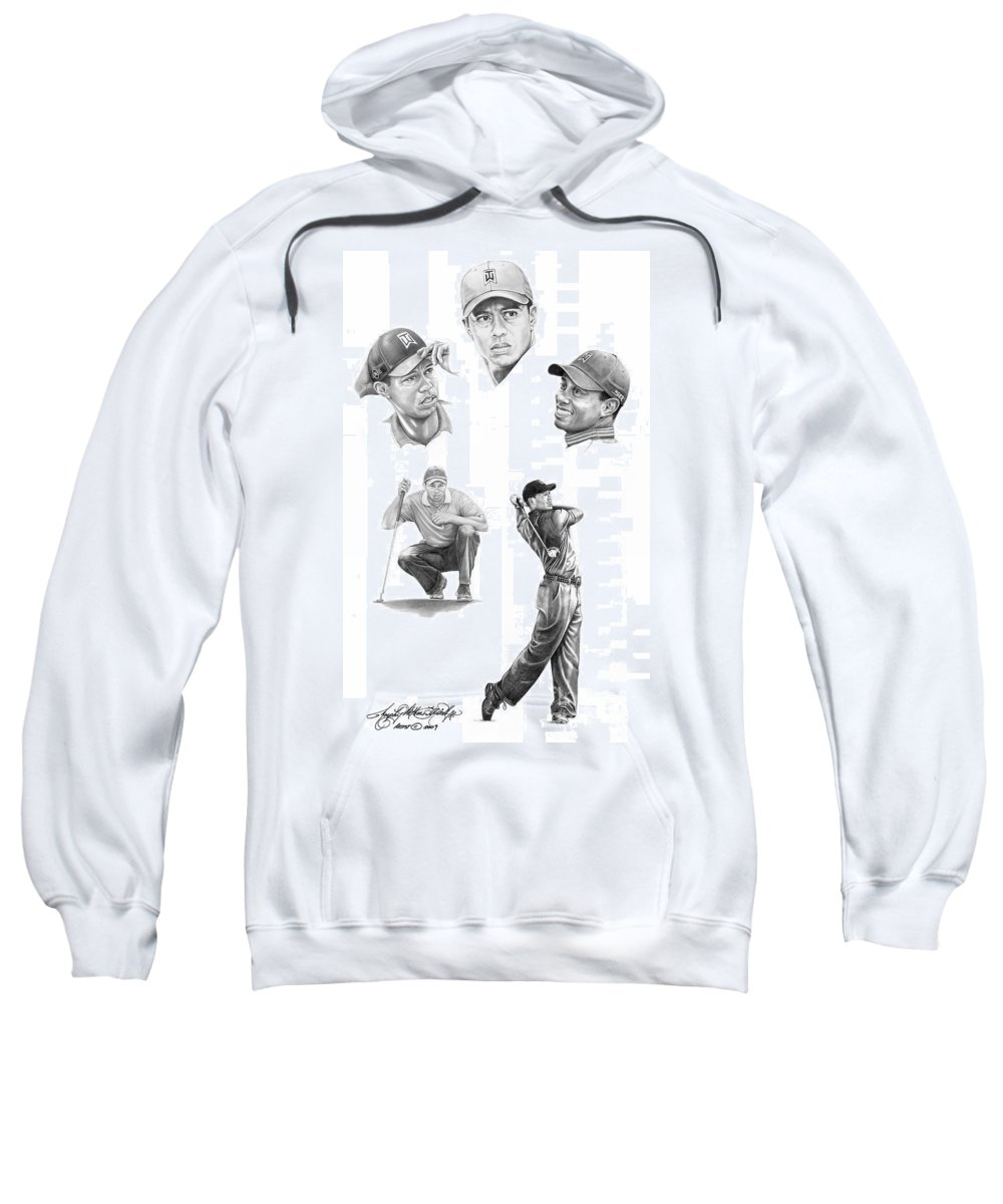 (tiger Woods) Sweatshirt featuring the drawing Tiger Woods- Full Circle by Murphy Elliott