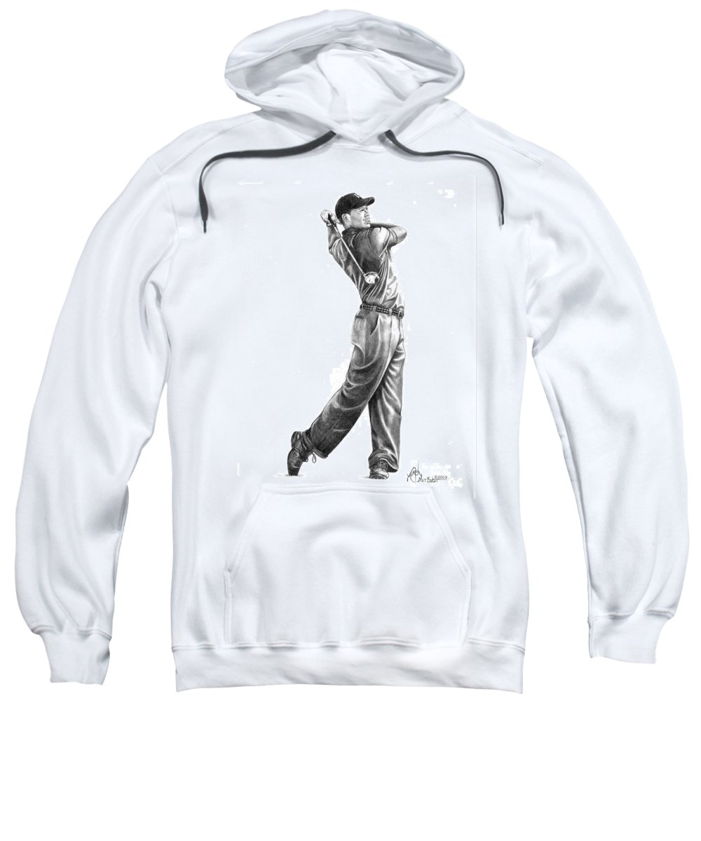 Tiger Woods Sweatshirt featuring the drawing Tiger Woods Full Swing by Murphy Elliott