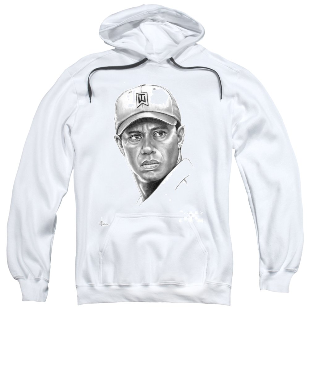 Tiger Woods Sweatshirt featuring the drawing Tiger Woods by Murphy Elliott