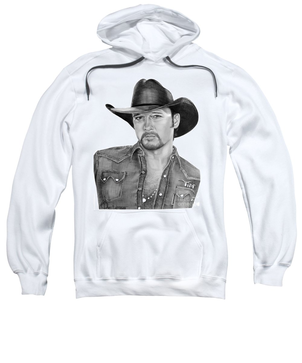 Portrait Sweatshirt featuring the drawing Tim Mcgraw by Murphy Elliott