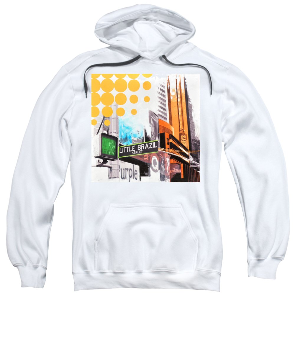 Ny Sweatshirt featuring the painting Times Square Little Brazil by Jean Pierre Rousselet