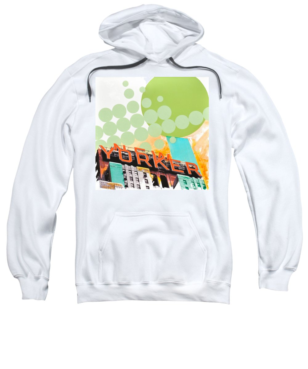 Ny Sweatshirt featuring the painting Times Square New Yorker by Jean Pierre Rousselet