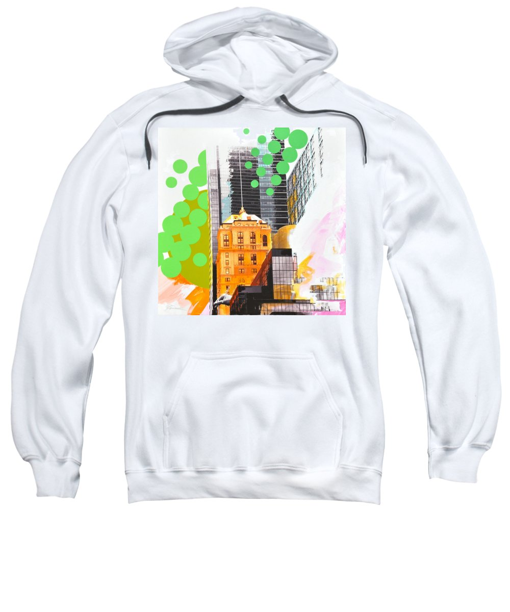 Ny Sweatshirt featuring the painting Times Square Ny Advertise by Jean Pierre Rousselet