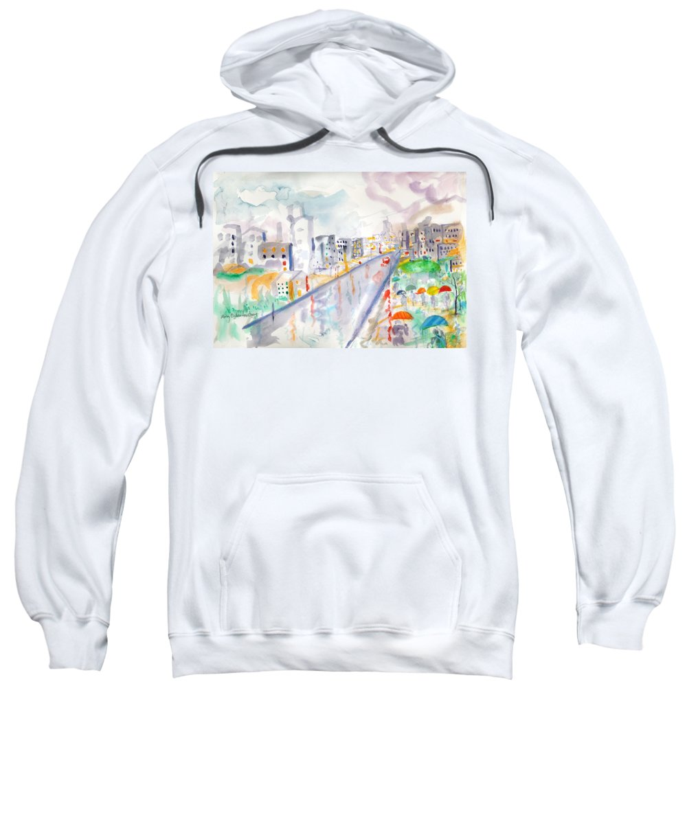 City Sweatshirt featuring the painting To The Wet City by Mary Armstrong