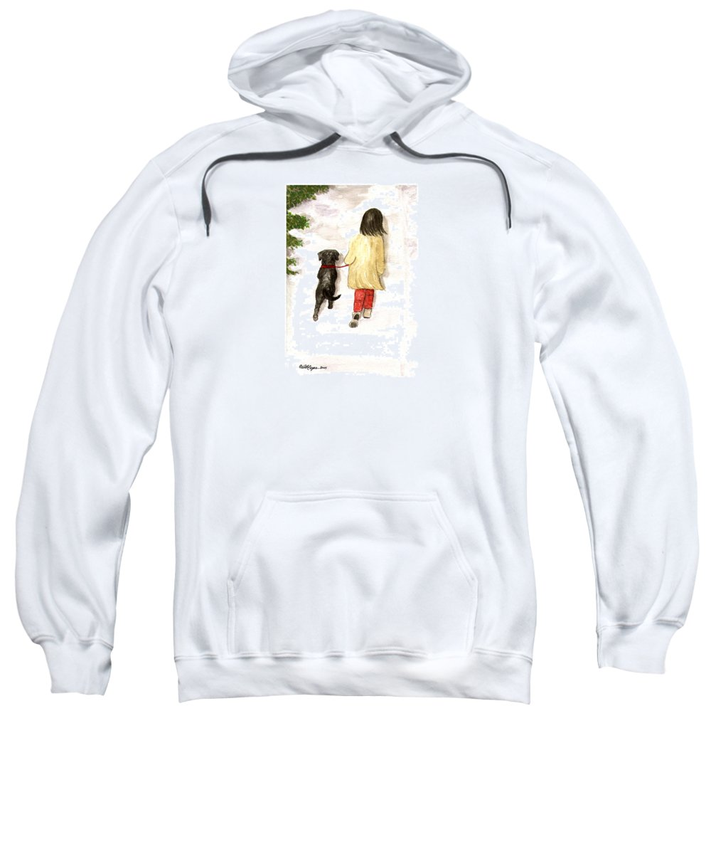 Lab Sweatshirt featuring the painting Together - Black Labrador And Woman Walking by Amy Reges