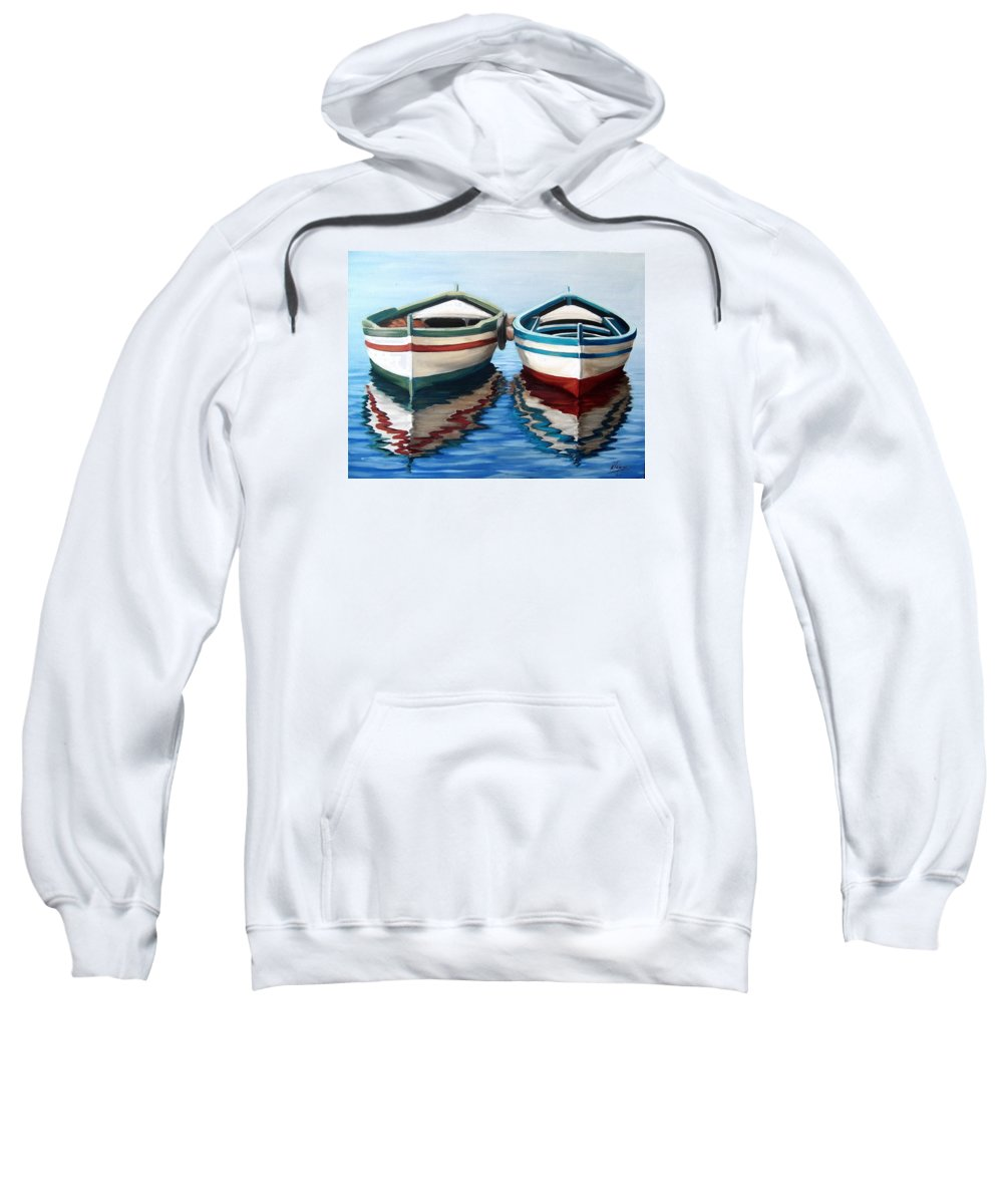 Seascape Sea Boat Reflection Water Ocean Sweatshirt featuring the painting Together by Natalia Tejera