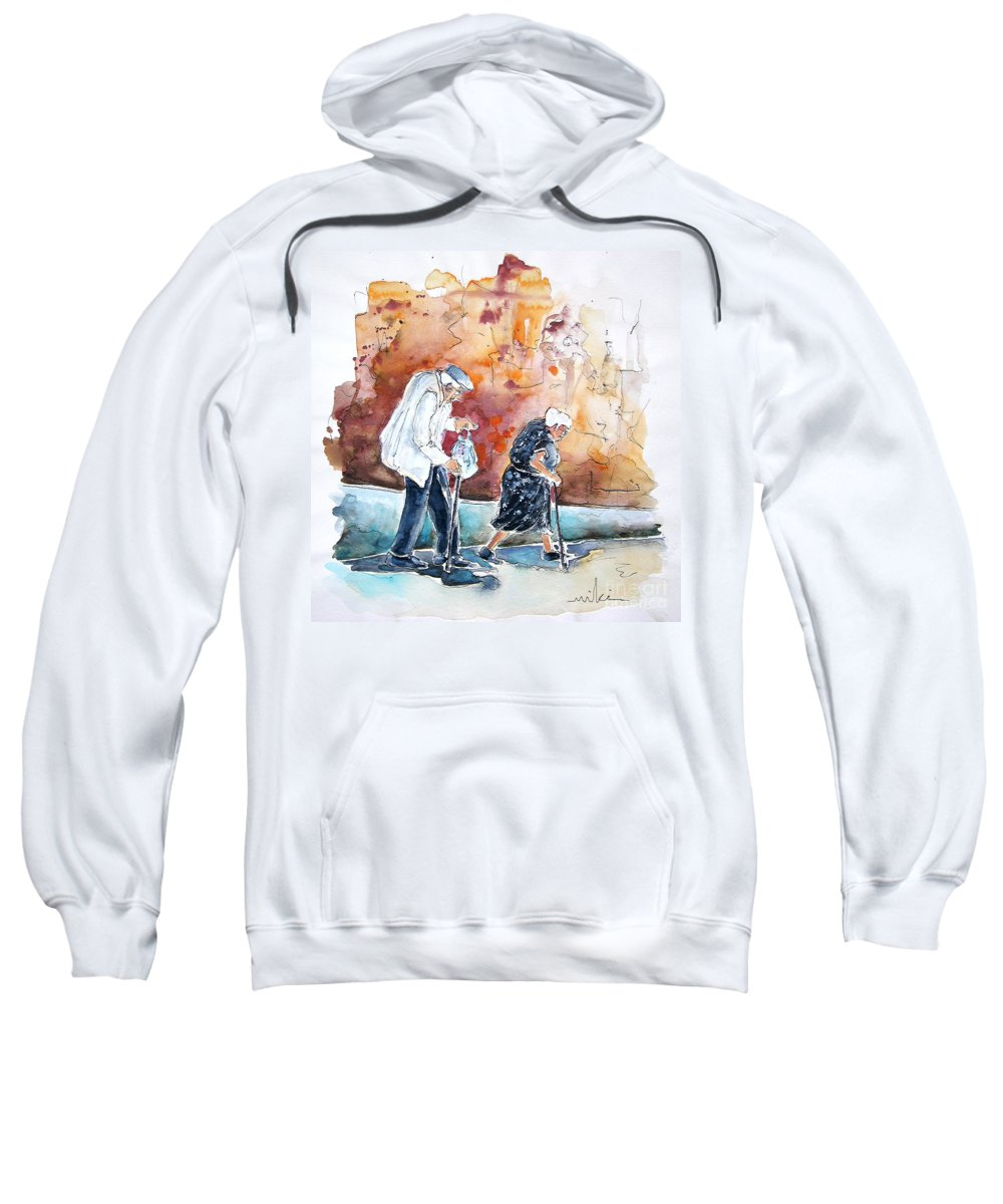 Portugal Paintings Sweatshirt featuring the painting Together Old In Portugal 01 by Miki De Goodaboom