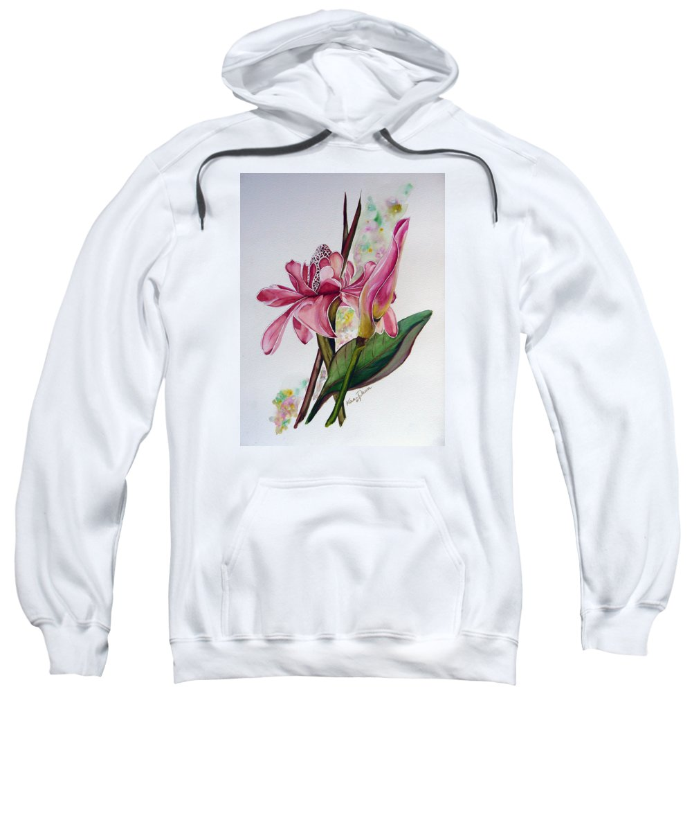 Flower Painting Floral Painting Botanical Painting Flowering Ginger. Sweatshirt featuring the painting Torch Ginger Lily by Karin Dawn Kelshall- Best