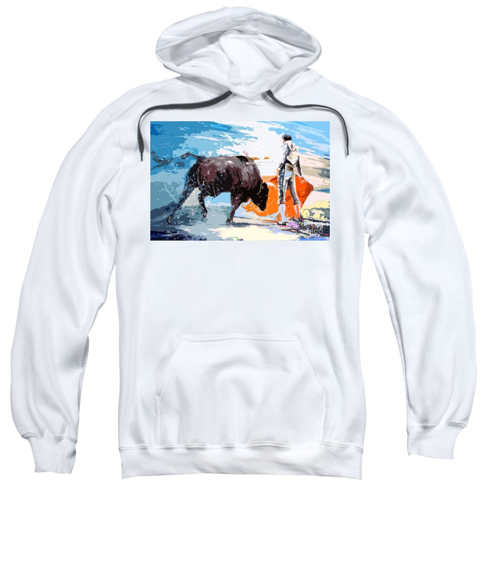 Bullfight Sweatshirt featuring the painting Toroscape 37 by Miki De Goodaboom