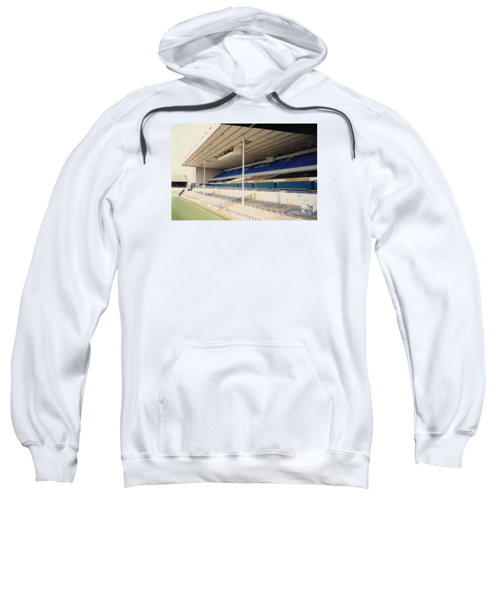 Sweatshirt featuring the photograph Tottenham - White Hart Lane - East Stand 3 - April 1991 by Legendary Football Grounds