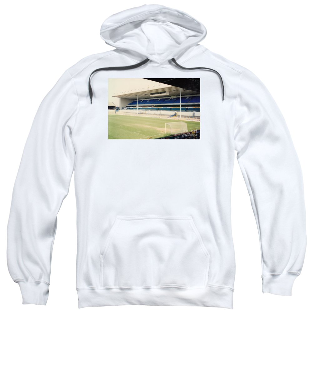 Sweatshirt featuring the photograph Tottenham - White Hart Lane - East Stand 4 - April 1991 by Legendary Football Grounds