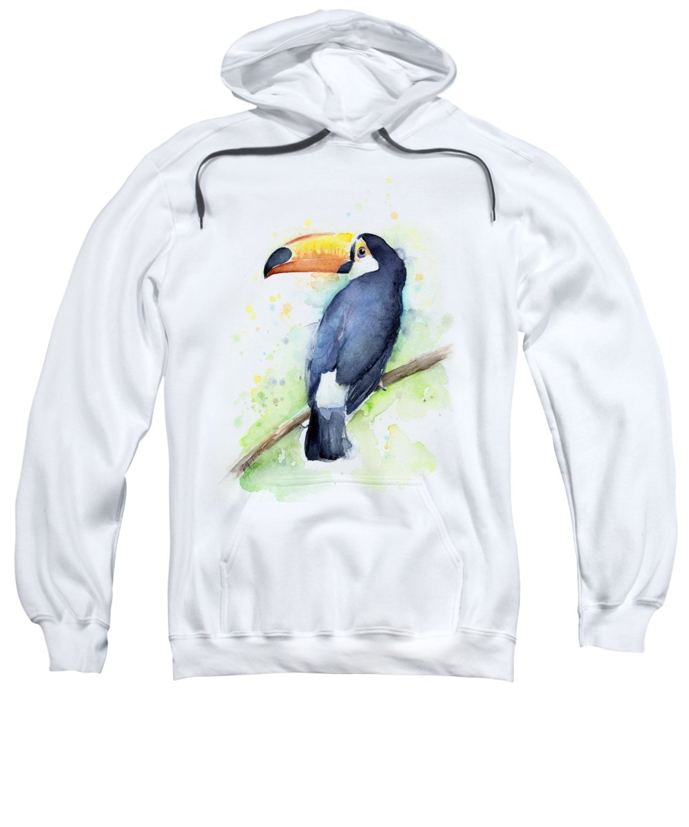 Watercolor Toucan Sweatshirt featuring the painting Toucan Watercolor by Olga Shvartsur
