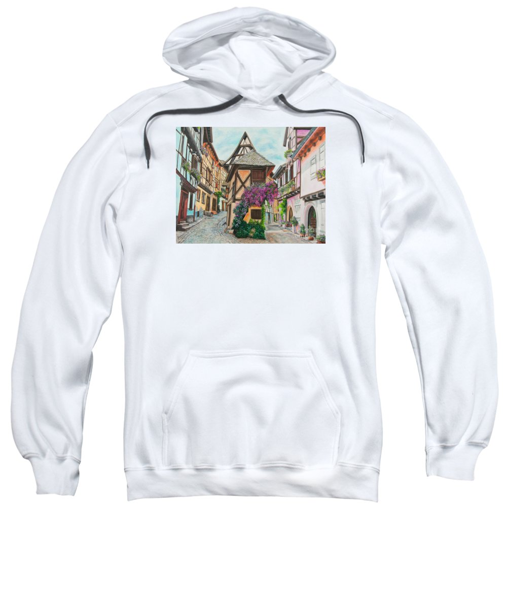 France Sweatshirt featuring the painting Touring In Eguisheim by Charlotte Blanchard
