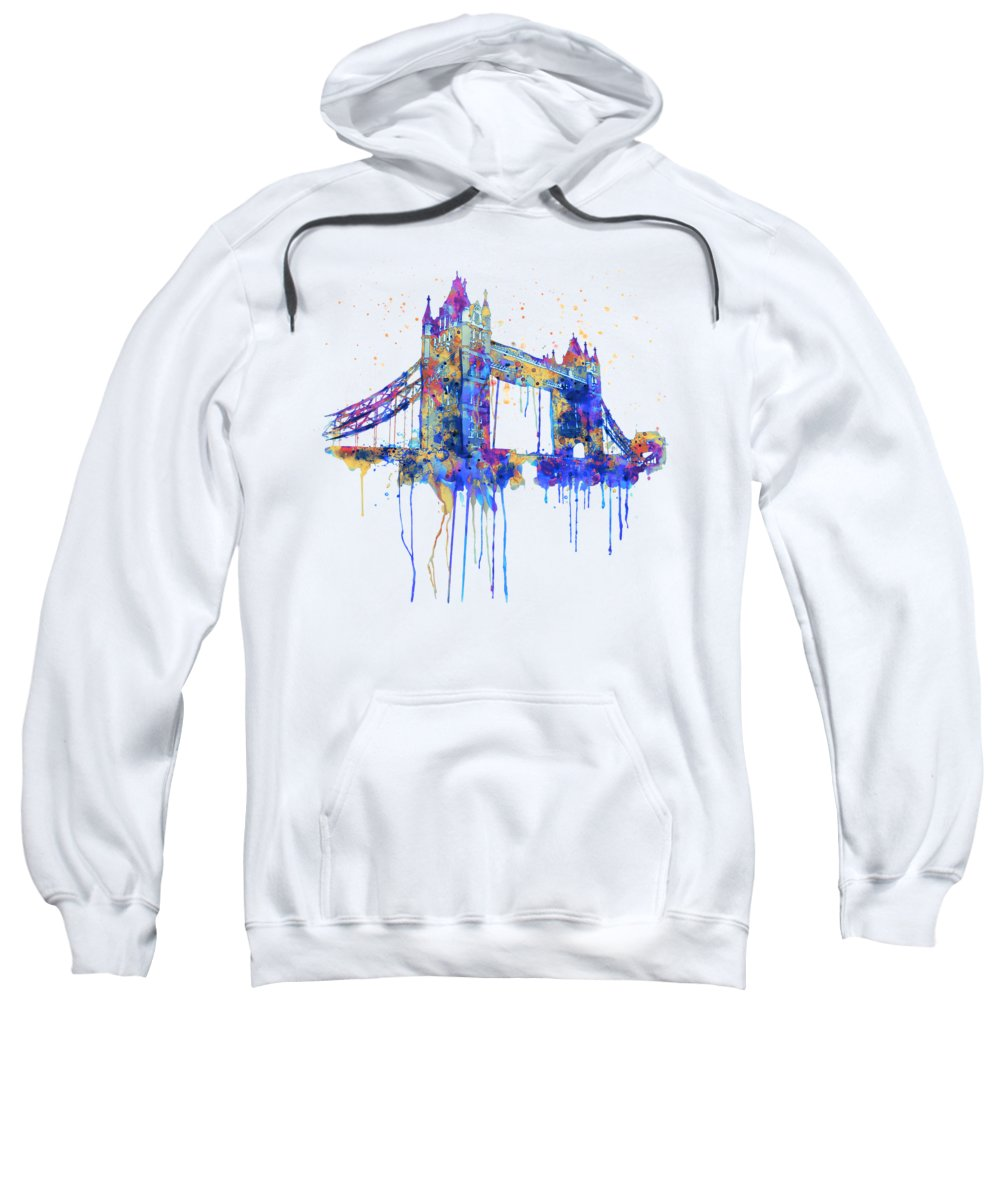 Tower Bridge Sweatshirt featuring the painting Tower Bridge Watercolor by Marian Voicu