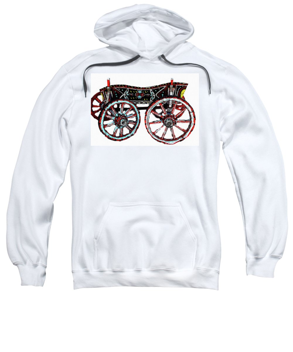Wooden House In Kotel Town Bulgaria Eastern Europe Sweatshirt featuring the photograph Traditional Painted Donkey Cart by Cliff Norton
