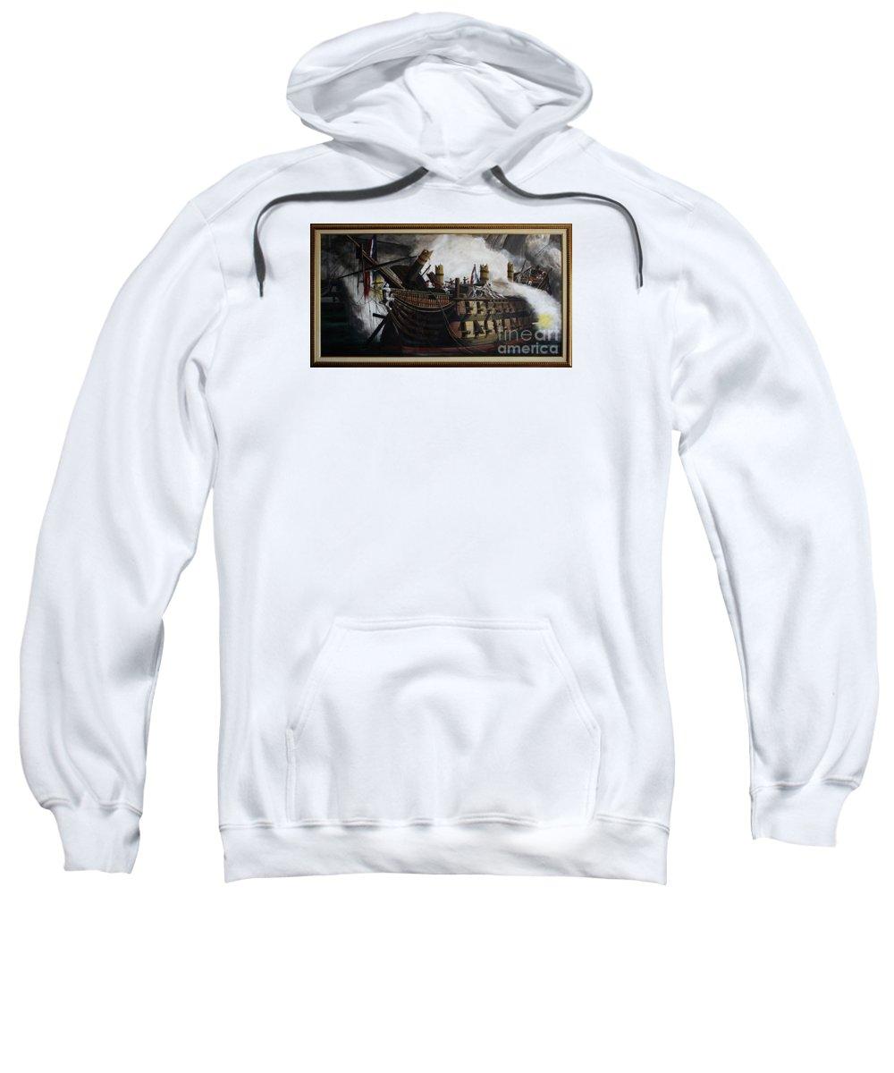 Destruction Of The Bucentaure Sweatshirt featuring the painting Trafalgar - Destruction Of The Bucentaure 72 X 36 In 182 X 91 Cm by Richard John Holden RA