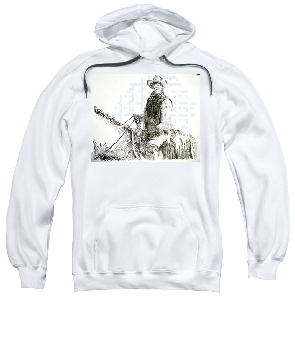 Trail Boss Sweatshirt featuring the drawing Trail Boss by Seth Weaver