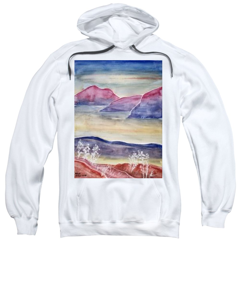 Watercolor Sweatshirt featuring the painting TRANQUILITY 2 mountain modern surreal painting print by Derek Mccrea