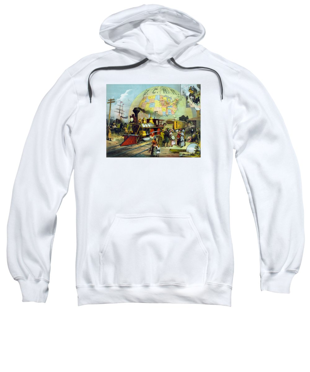 Trains Sweatshirt featuring the painting Transcontinental Railroad by War Is Hell Store